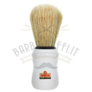 Pennello da barba professionale in pura setola Omega Bianco 10049