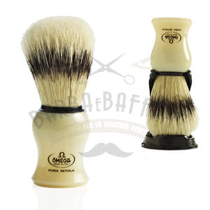 Pennello da Barba Omega in pura setola con supporto 80266