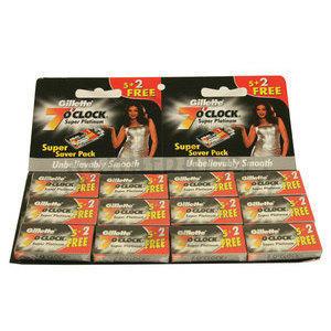 Lamette Gillette 7 O'Clock Super Platinum Stecca 12 pacchetti da 5 + 2 l