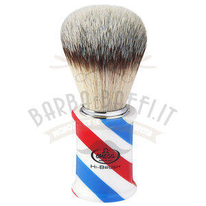 "Pennello da barba in fibra sintetica Hi-BRUSH ""BARBER POLE"" Omega 46735"