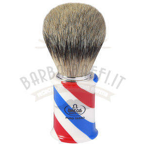 """Pennello da barba in tasso Super """"BARBER POLE"""" Omega 6735"""