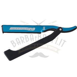 Dovo Rasoio Shavette Manico Plastica + Supporto Lame In alluminio Blu201 0140