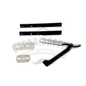 Rasoio Shavette Manico Plastica Nero + Supporto Lame In alluminio Dovo 201 081 Rasoi Dovo