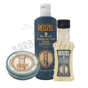 Kit Reuzel Mousse Astringente 200 ml + Crema da barba 28,5 g + After Shave Lotion Reuzel 100 ml